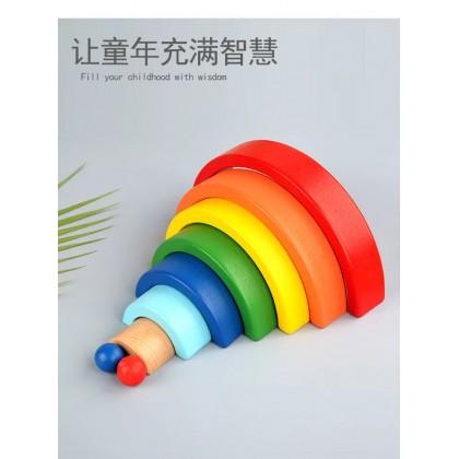 Wooden Rainbow Stacked Balance Blocks