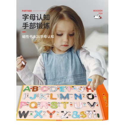 Wooden Magnetic Colourful Picture Alphabet Book for Kids Early Learning Educational Toy